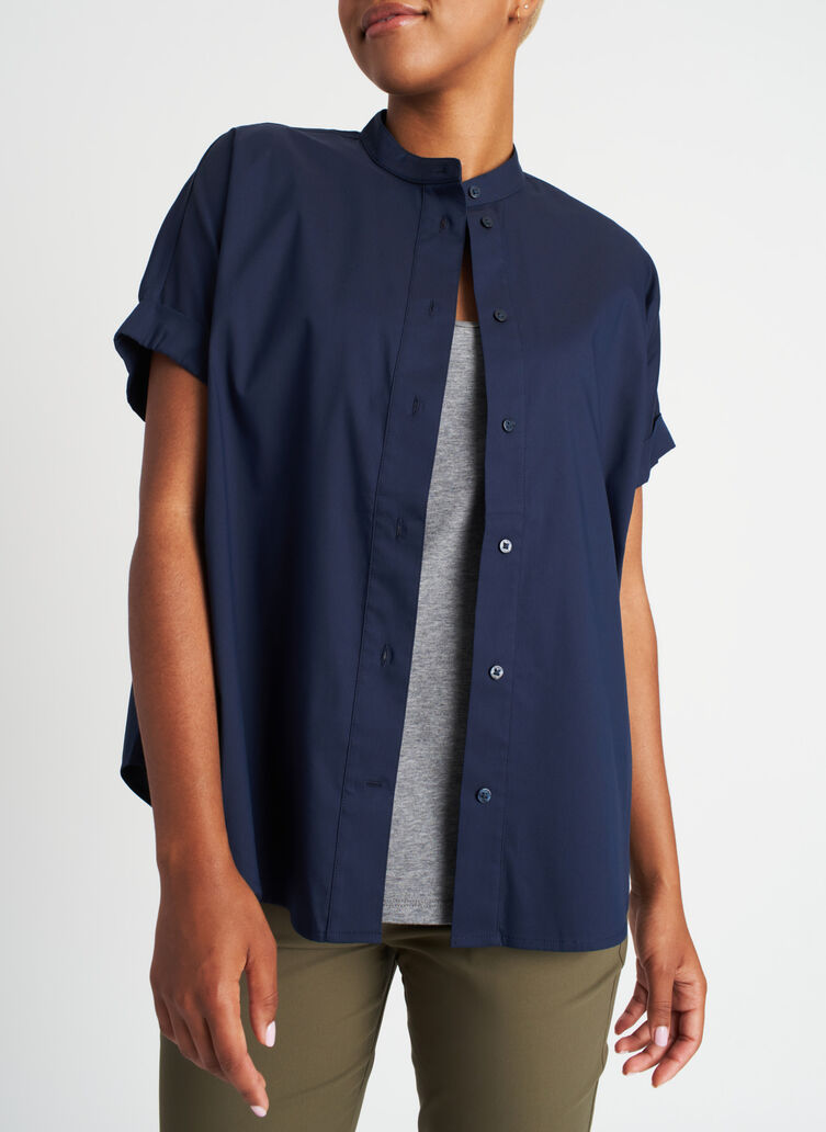 Keep It Cool Short Sleeve Blouse, Dark Navy | Kit and Ace