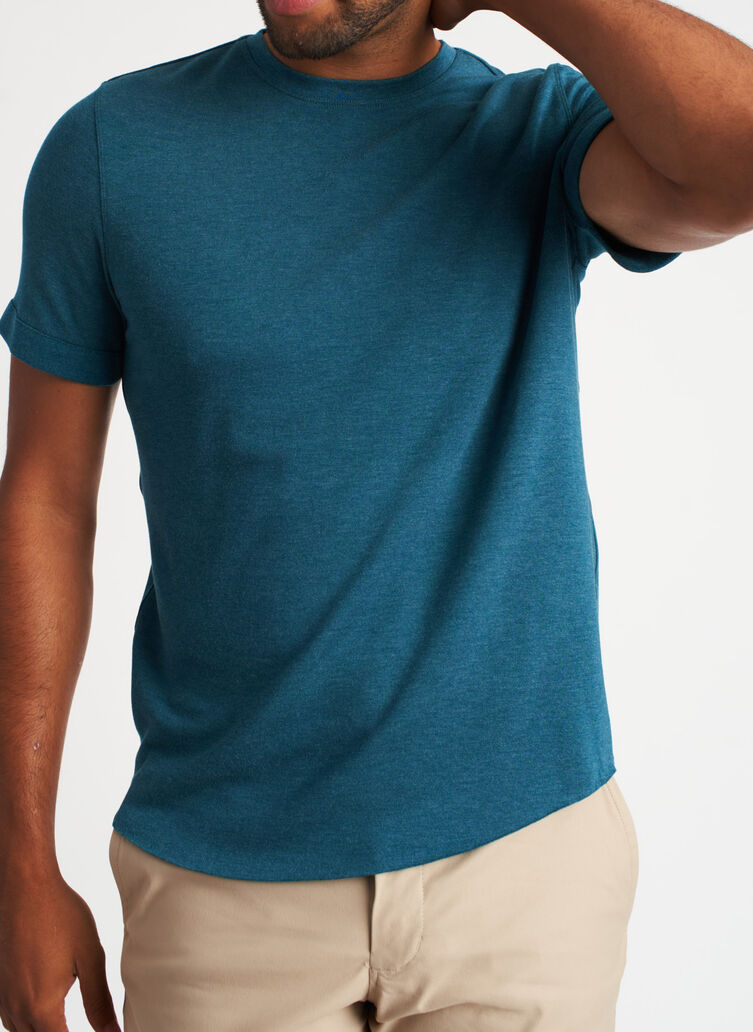 The B.F.T. Crewneck Tee, Heather Deep Teal | Kit and Ace