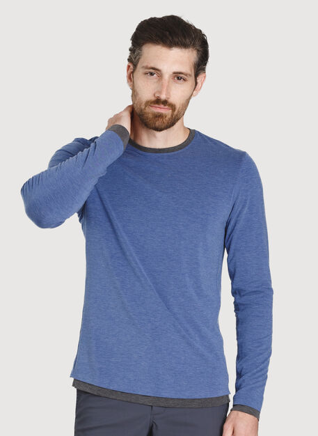 Ace Reversible Long Sleeve Tee, Heather Blue Indi/Heather Charc | Kit and Ace