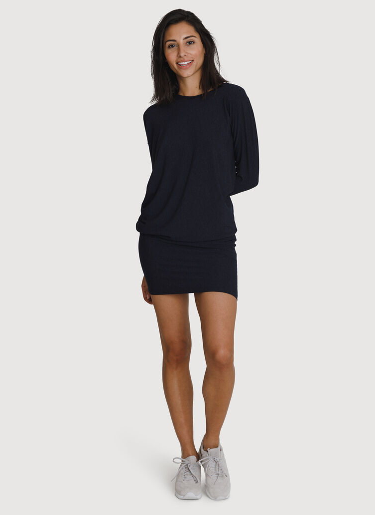 Wave Long Sleeve Dress, HTHR DK Navy | Kit and Ace