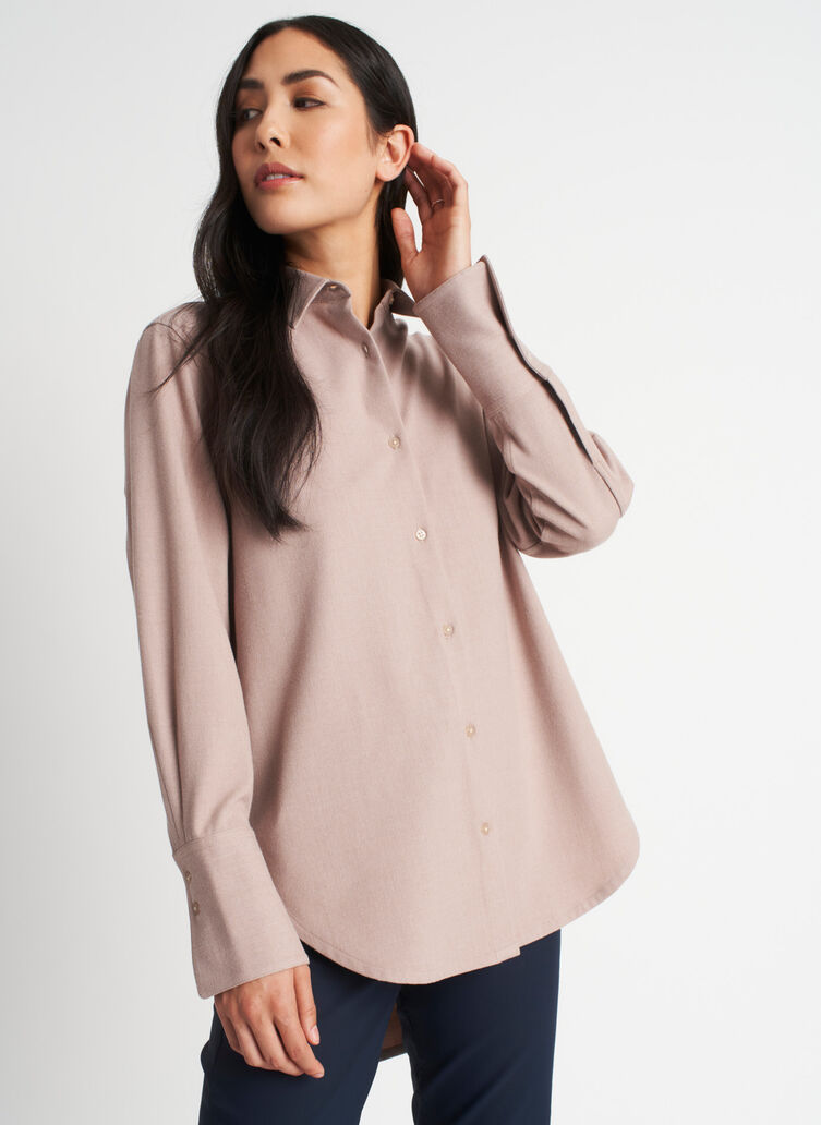 Here and There Button Up Shirt, Heather Oat | Kit and Ace