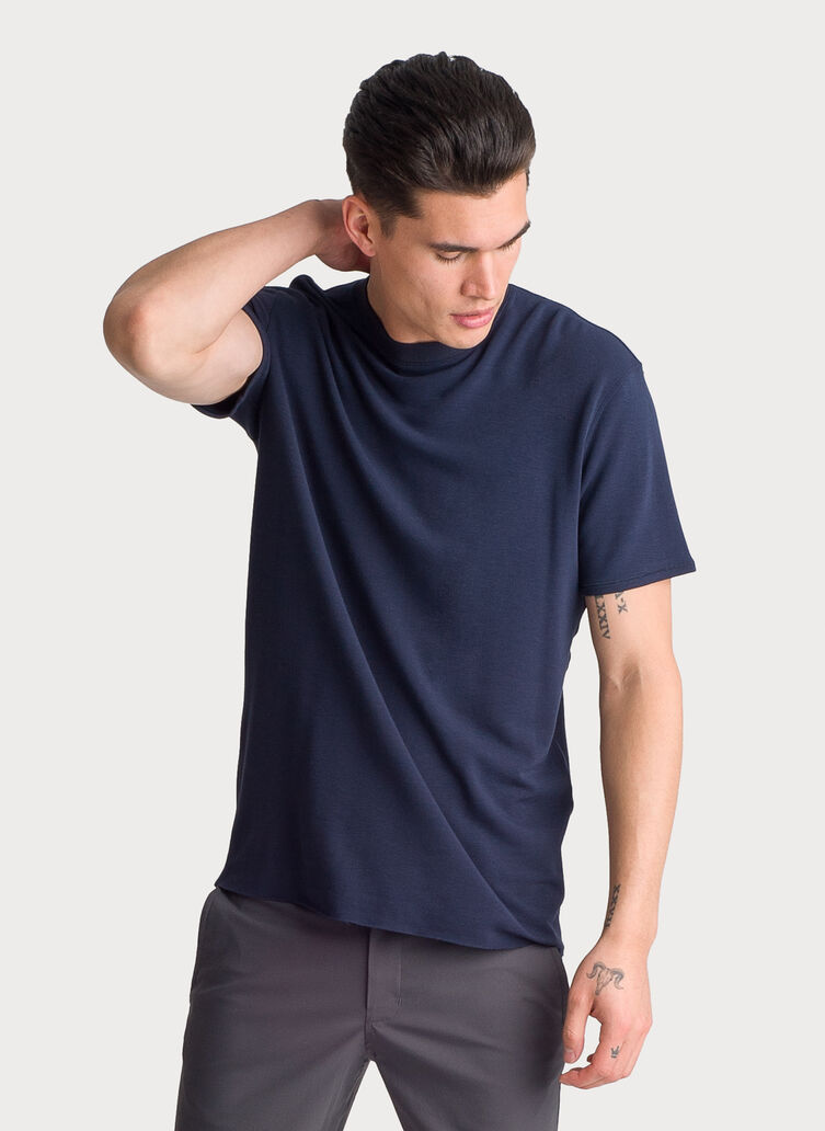 Brushed Crew Short Sleeve, DK Navy | Kit and Ace