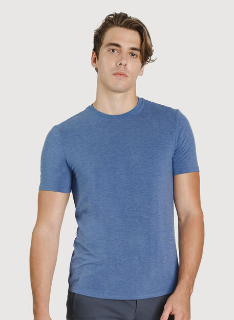 Ace Crewneck Tee, Heather Blue Indigo | Kit and Ace