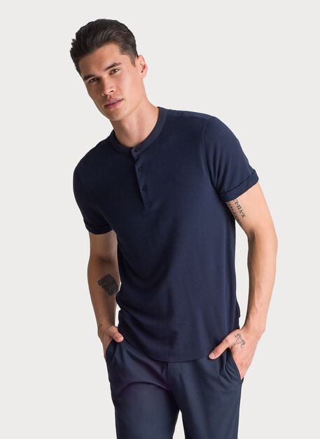 Brushed Henley Short Sleeve, DK Navy | Kit and Ace