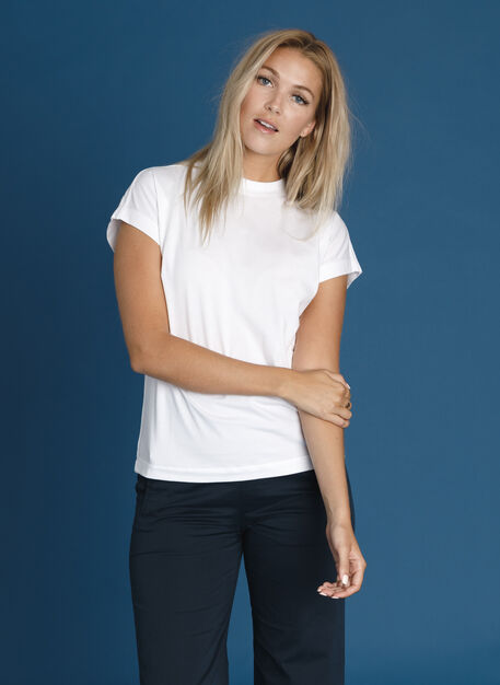 Mock Neck Pima Boyfriend Tee, Bright White | Kit and Ace