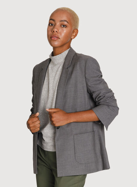 Classic Stretch Cropped Blazer, HTHR GREY | Kit and Ace