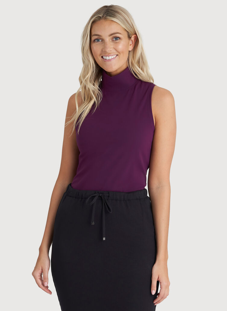 The Base Sleeveless Turtleneck, Dark Plum | Kit and Ace