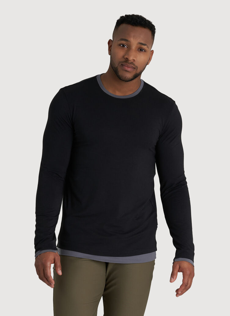 Ace Reversible Long Sleeve Tee, Black/Shade | Kit and Ace