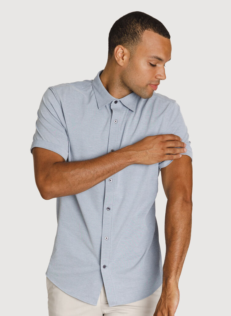 Court Stretch Short Sleeve, Dark Denim Chambray | Kit and Ace