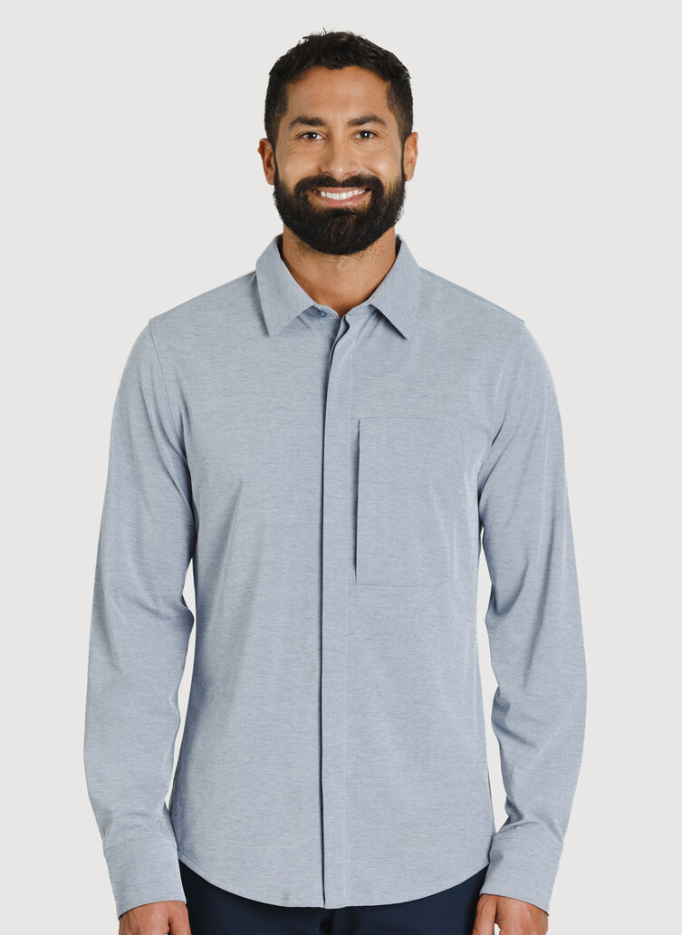 City Tech Commuter Shirt, Medieval Chambray | Kit and Ace