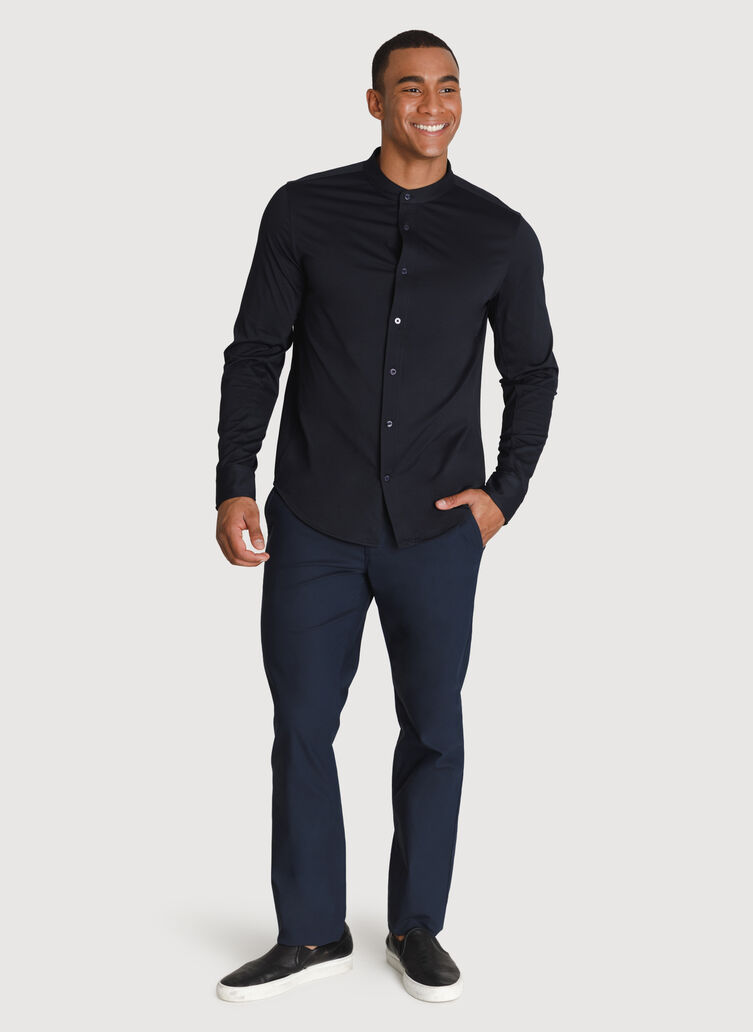 Court Stretch Relaxed Long Sleeve, DK Navy | Kit and Ace