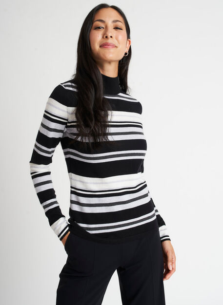 Fitted Merino Turtleneck Sweater, Black/Heather Light Grey | Kit and Ace