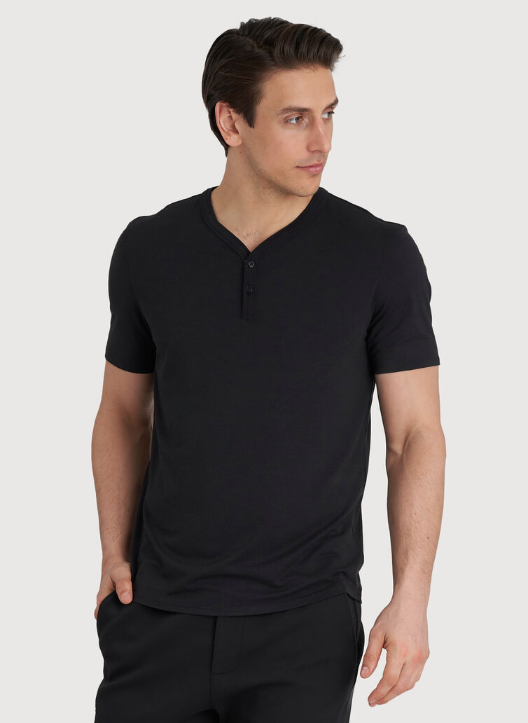 Ace Tech Henley Tee, Black | Kit and Ace