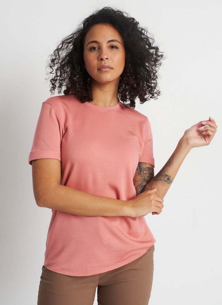 Good Feels Brushed Crewneck Tee, Jasper Pink | Kit and Ace