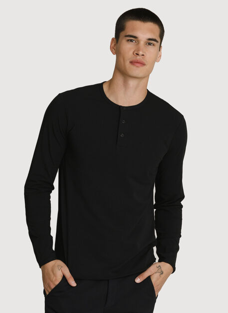 Stretch Pima Long Sleeve Henley, BLACK | Kit and Ace