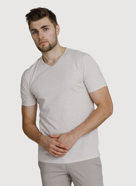 Ace Pima V-Neck, HTHR Aran | Kit and Ace