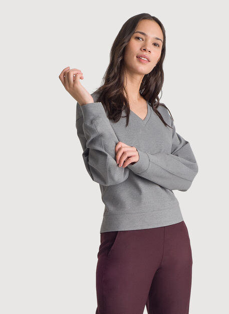 Stretch V-Neck Long Sleeve, HTHR GREY | Kit and Ace