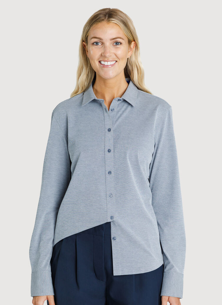 O.T.M. Long Sleeve Button Up Shirt, Dark Navy Chambray | Kit and Ace