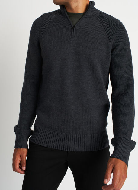 Cozy Merino Turtleneck Sweater, Heather Charcoal | Kit and Ace