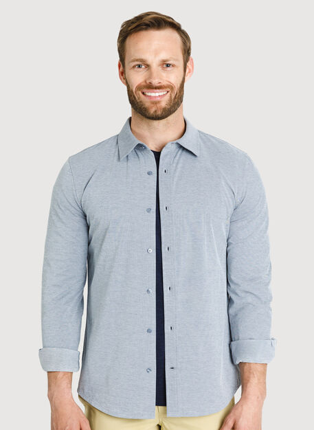 City Tech Long Sleeve Shirt, Dark Navy Chambray | Kit and Ace