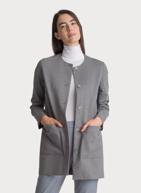 Collarless Stretch Jacket, HTHR GREY | Kit and Ace