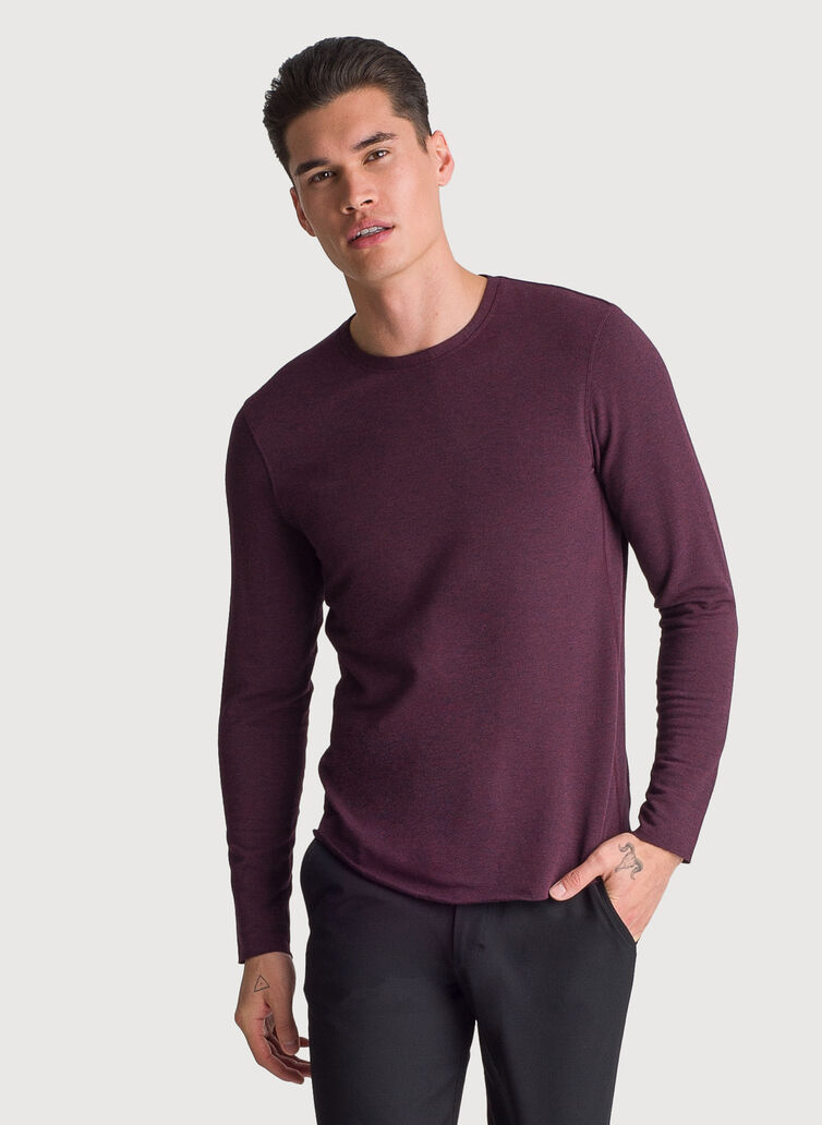 Brushed Long Sleeve Crew, HTHR Mulled Wine | Kit and Ace