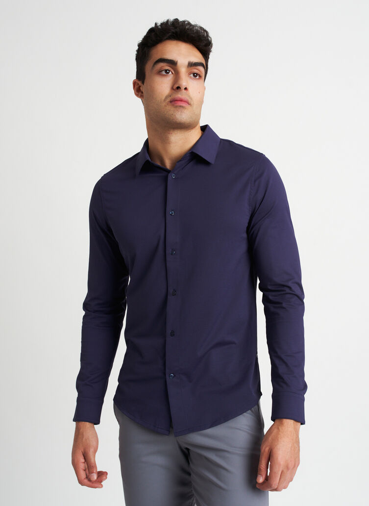 City Tech Vented Shirt, Deep Navy | Kit and Ace
