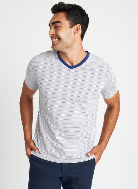 Ace Pima V-Neck Tee, Ash Multi Stripe | Kit and Ace