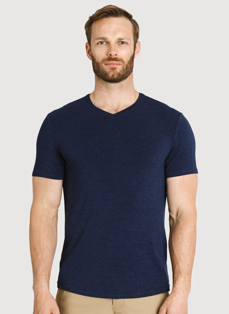 Ace Tech Jersey V Tee Standard Fit, HTHR DK Navy | Kit and Ace