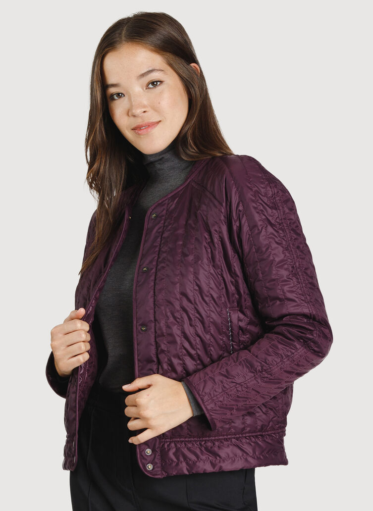 Keep Pedalling Reversible Bomber, Plum/Shiny Plum | Kit and Ace