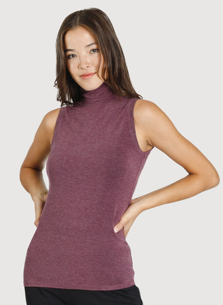 Kit Sleeveless Turtleneck, HTHR Plum Wine | Kit and Ace
