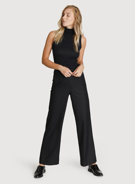 Wide Leg Stretch Trousers, Black | Kit and Ace