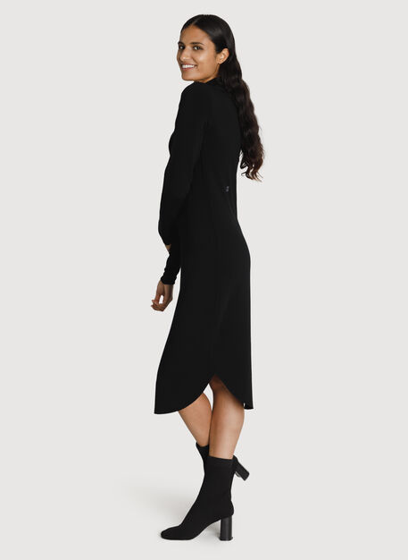 Mock Neck Brushed Dress, BLACK | Kit and Ace