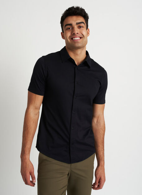 City Tech Vented Short Sleeve Shirt, Black | Kit and Ace