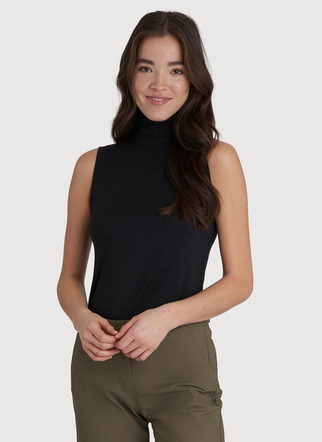 Kit Sleeveless Turtleneck, BLACK | Kit and Ace