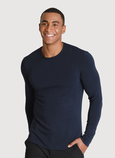 Brushed Long Sleeve Crew, DK Navy | Kit and Ace