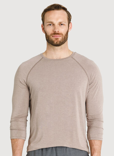 Ace Tech Jersey Baseball Tee, Heather Dark Oat | Kit and Ace