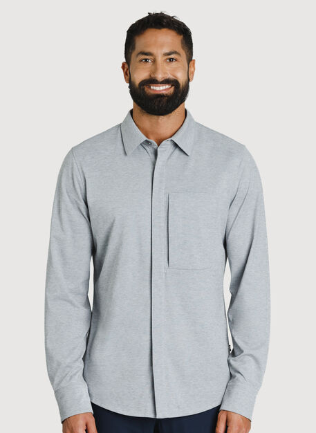 City Tech Commuter Shirt, Grey Chambray | Kit and Ace