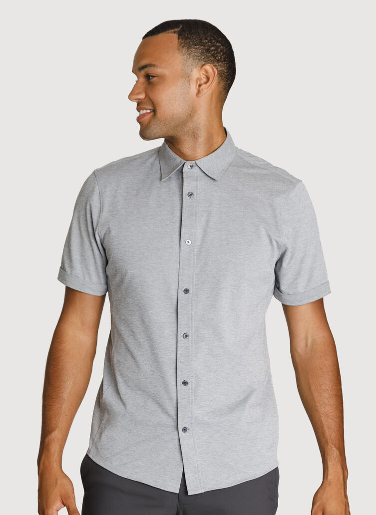 Court Stretch Short Sleeve, Grey Chambray | Kit and Ace
