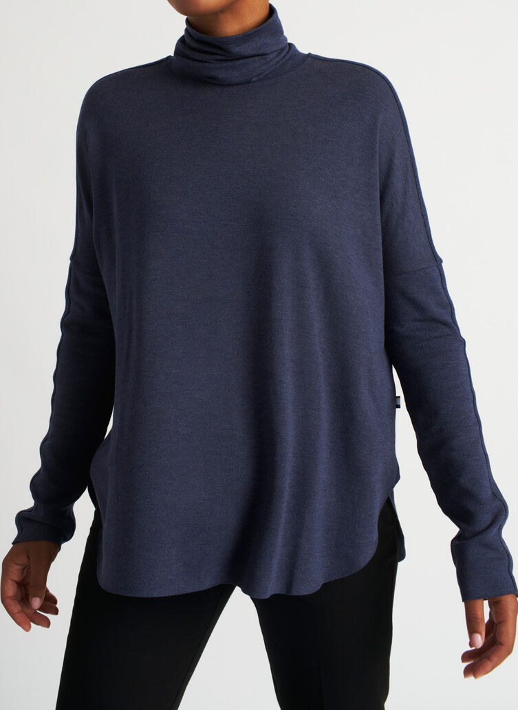 Burrow Turtleneck, Heather Dark Navy | Kit and Ace