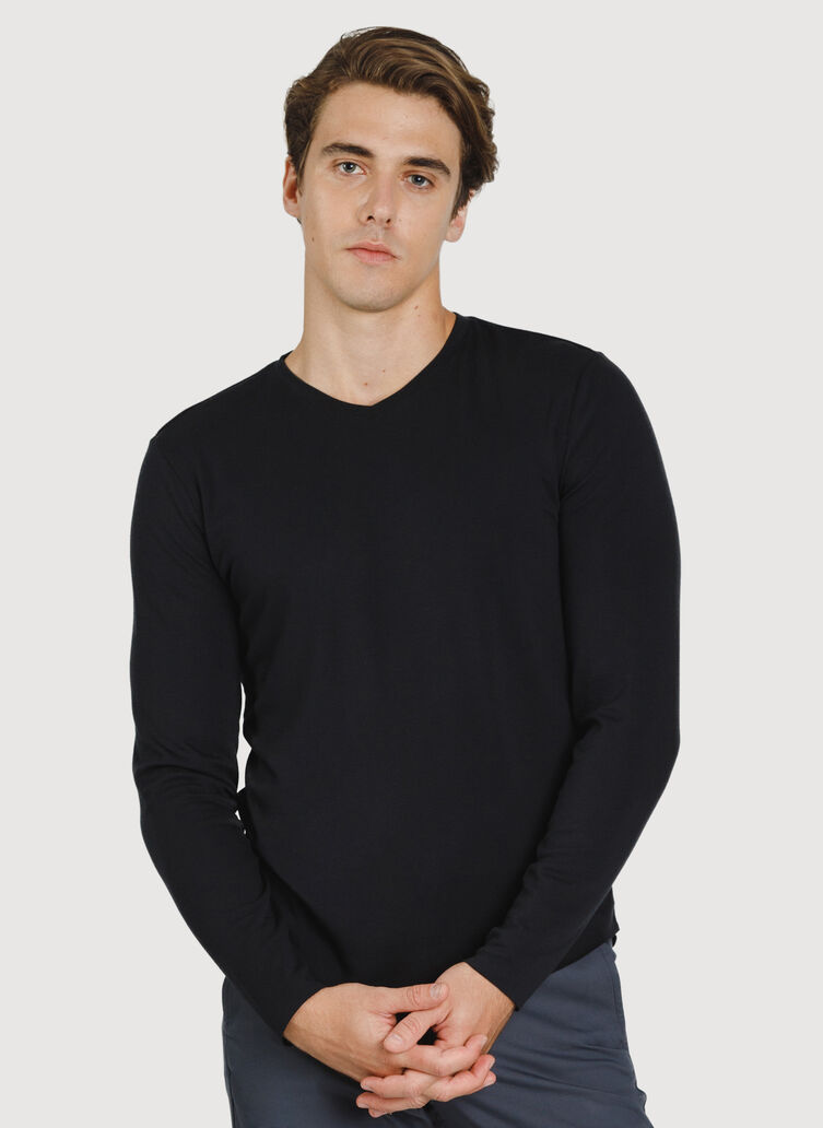The B.F.T. Long Sleeve V-Neck, BLACK | Kit and Ace