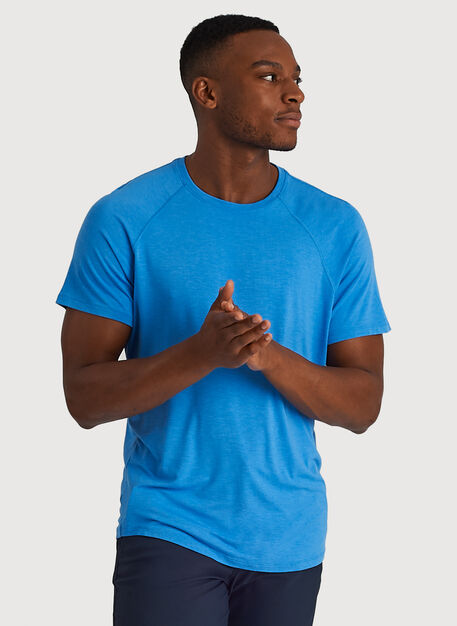 Ace Tech Jersey Crew Tee Relaxed Fit, Heather Sail Blue | Kit and Ace