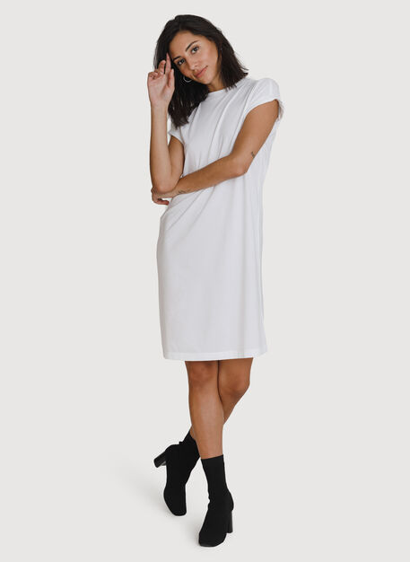 Mock Neck Pima Boyfriend Dress, Bright White | Kit and Ace