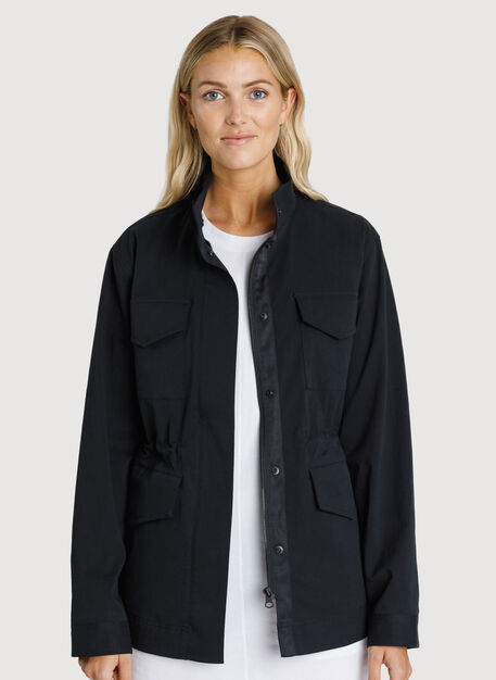 Stretch Cotton Jacket, BLACK | Kit and Ace