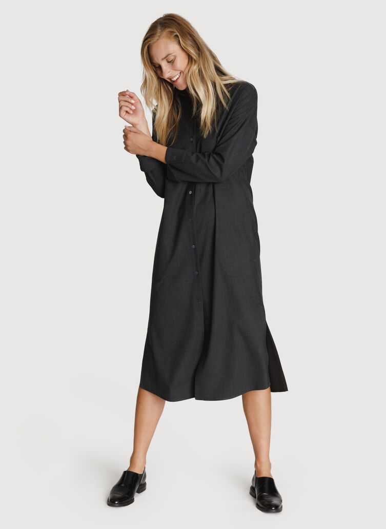 Button Up Blouse Dress, HTHR Charcoal | Kit and Ace