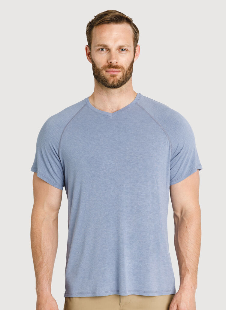 Ace Tech Jersey V-Neck Tee Relaxed Fit, Heather Stormy Sky | Kit and Ace