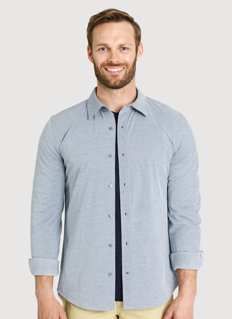 City Tech Long Sleeve Shirt, DK Navy Chambray | Kit and Ace