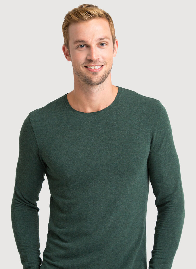Edge Brushed Crew Long Sleeve 2.0, HTHR Juniper | Kit and Ace