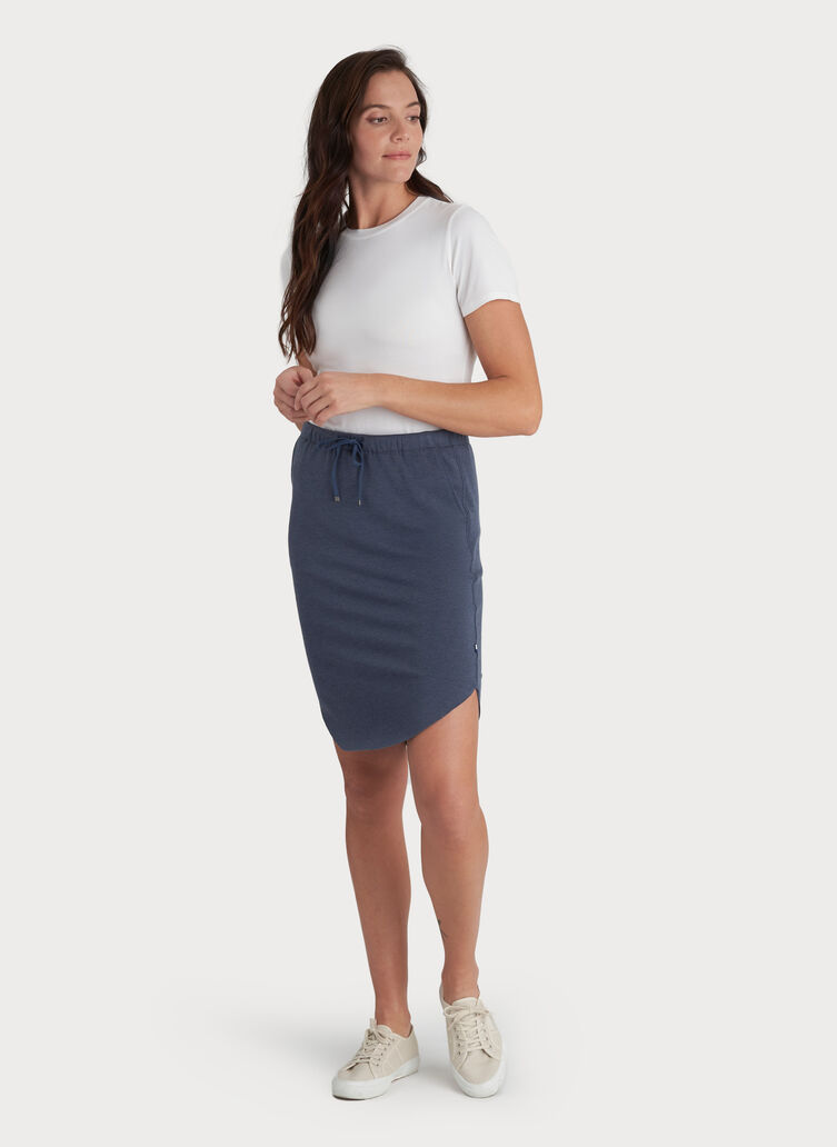 Brushed Drawstring Skirt, Heather Dark Denim | Kit and Ace