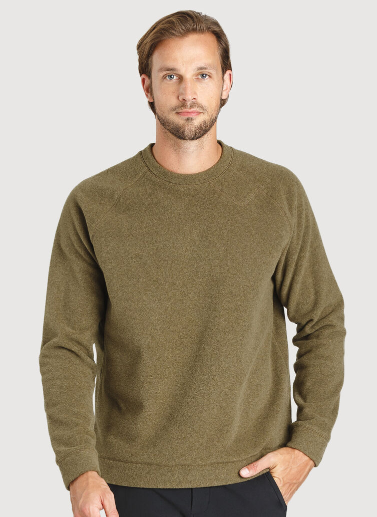 Snug Crewneck Sweater, Heather Moss | Kit and Ace